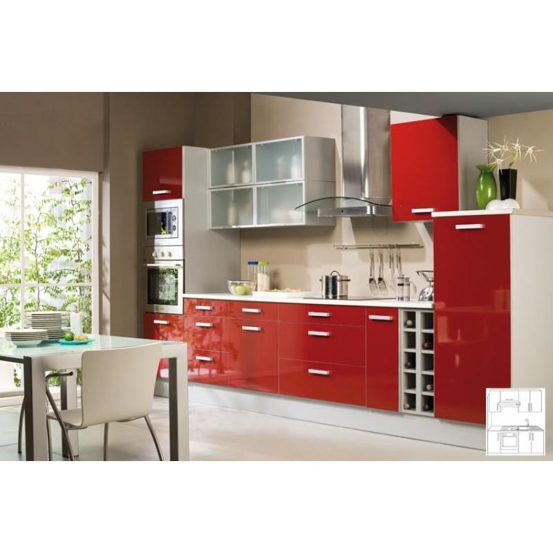 Element de cuisine en bois rouge for Cuisine rouge