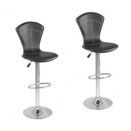 Tabouret de bar assise PVC lot de 2 pièces