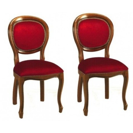 CHAISE MEDAILLON VELOURS LOT DE 2 PIECES