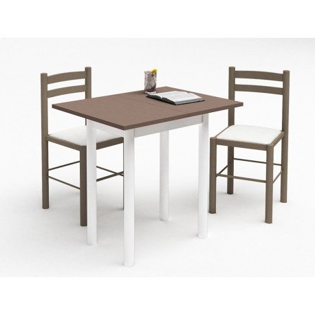 petite table de cuisine plateau melamine pieds metal 2 chaises en hetre. Black Bedroom Furniture Sets. Home Design Ideas