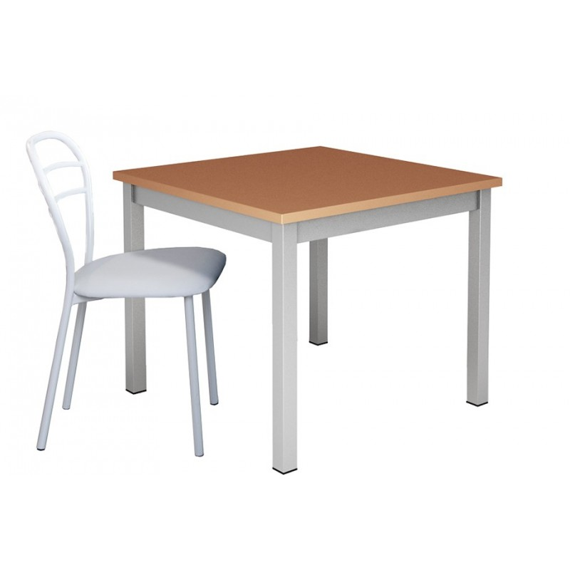 table de cuisine carree et pieds metal plateau bois coloris au choix prix petit prix meilleur march. Black Bedroom Furniture Sets. Home Design Ideas