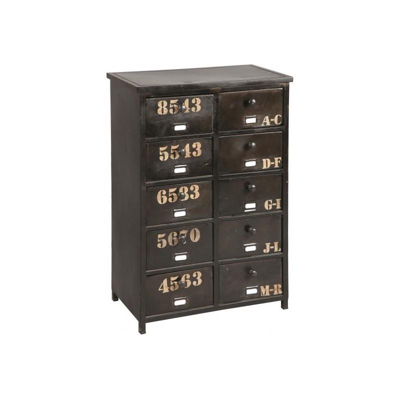 meuble de rangement en metal 10 tiroirs. Black Bedroom Furniture Sets. Home Design Ideas
