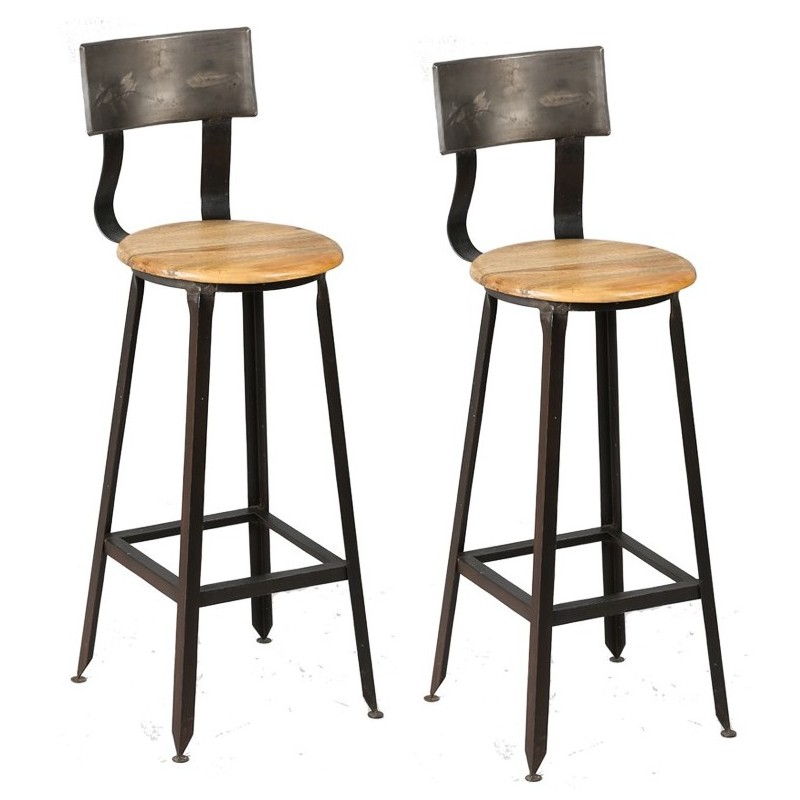 tabourets de bar en bois et metal avec dossier moins cher. Black Bedroom Furniture Sets. Home Design Ideas