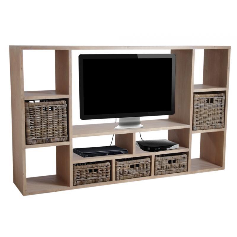meuble tv en bois massif avec de nombreuses niches au prix le moins cher. Black Bedroom Furniture Sets. Home Design Ideas