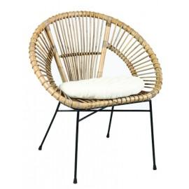 fauteuil en rotin style vintage