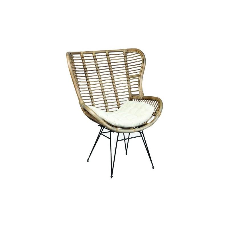fauteuil en rotin assise mousse poluyr thane pieds en m tal moins cher. Black Bedroom Furniture Sets. Home Design Ideas