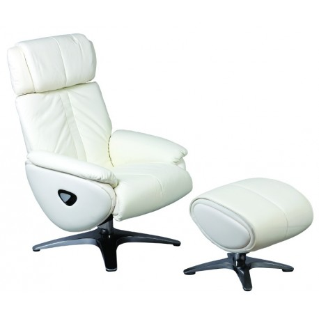 fauteuil de relaxation avec repose pieds de couleur blanc. Black Bedroom Furniture Sets. Home Design Ideas
