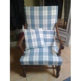 Fauteuil bois tissu bleu occasion