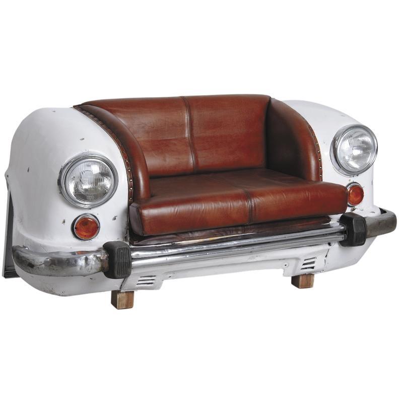 Canap calandre de voiture en cuir et metal phare lampe for Salon cuir voiture