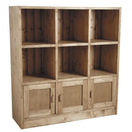 Etagère 3 portes 6 cases en bois