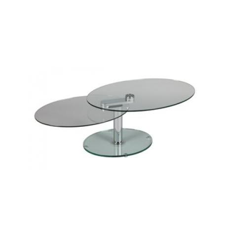 Table basse de salon en verres ovales articlués