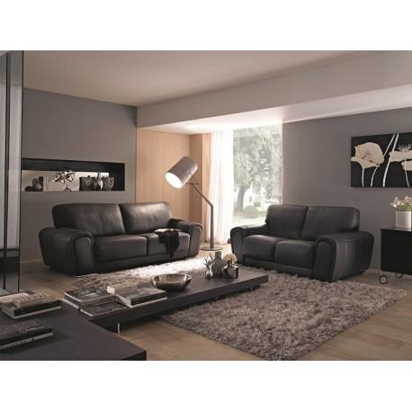 Canapé 3 places cuir noir ref AUGUSTA