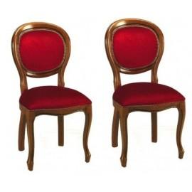 chaises  capitonnées médaillon en velours bordeaux