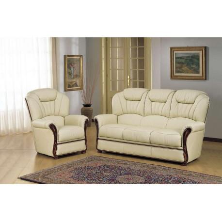 Salon en cuir 3 pieces canapé 3 places et 2 fauteuils assortis