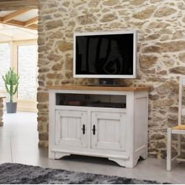 Meuble TV 100% chêne blanchi