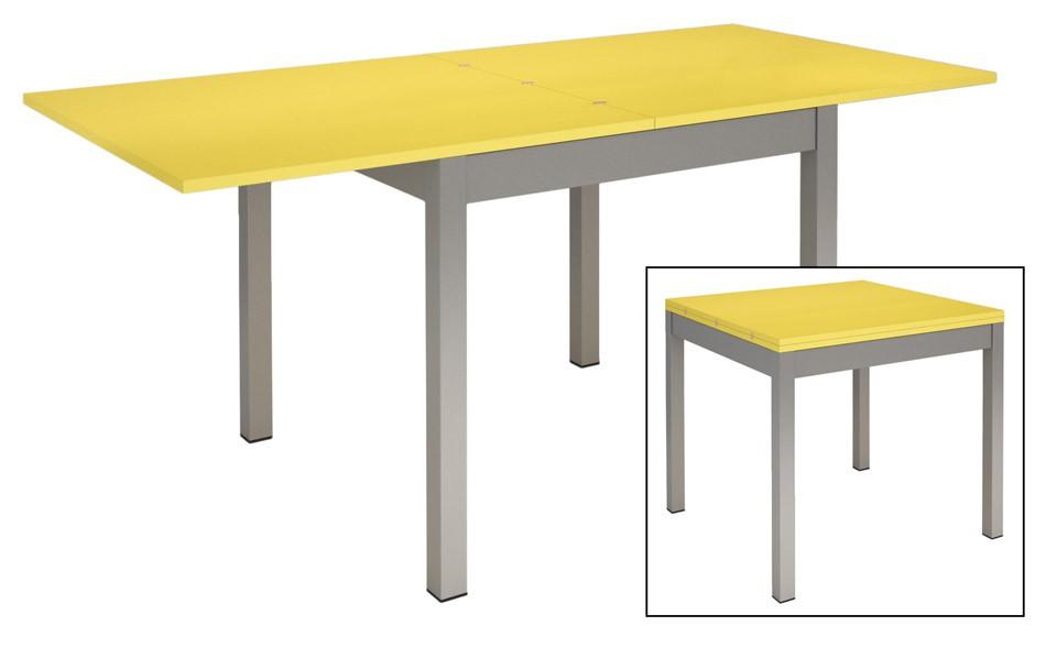 Table De Cuisine Avec Rallonge.Table De Cuisine Avec 4 Pieds En Metal Plateau A Rallonges En Couleur Prix Pas Cher