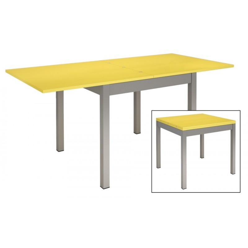 Table De Cuisine Metal Et Bois Jaune