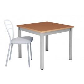 Table de cuisine fixe 90x90 pieds métal