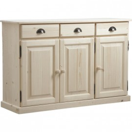 Bahut bas  en bois brut 3 portes 3 tiroirs