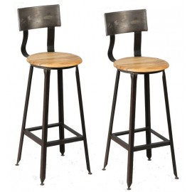 Chaises de bar métal bois
