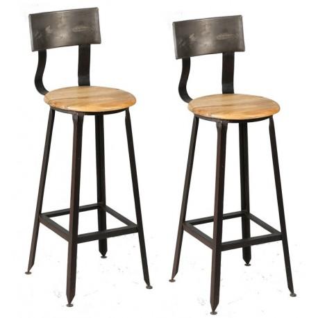 Chaises-de-bar-metal-bois