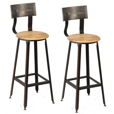 Chaise tabouret de bar assise bois dossier arrondi métallique pieds réglables