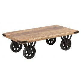 Table de salon en bois sur roulettes acier