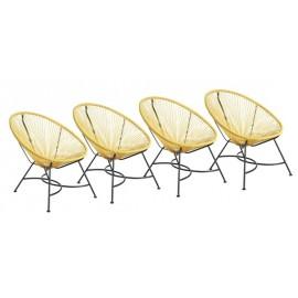 Lot de 4 fauteuils style vintage