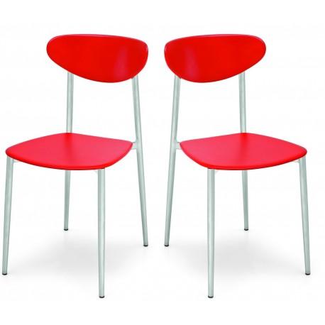 Lot de 2 chaises de cuisine rouges