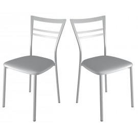 Chaise simili cuir - grise