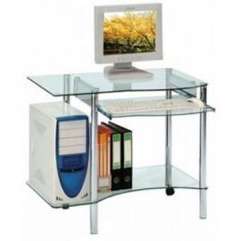 Petit bureau informatique en verre avec roulettes