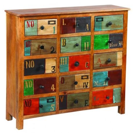 Commode 15 tiroirs bois exotique