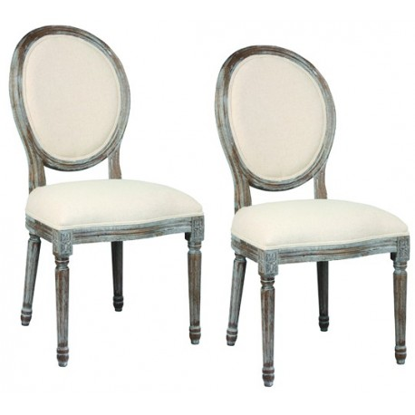 2 Chaises medaillons blanchies