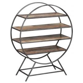 étagère acier bois ronde