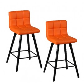 Tabouret de bar avec dossier - orange