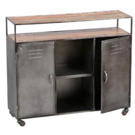 Comptoir sur roulettes plateaux bois et métal