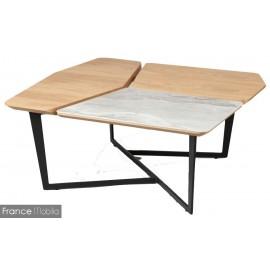 Table basse acier chêne céramique