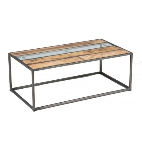 Table basse cadre acier plateau bois