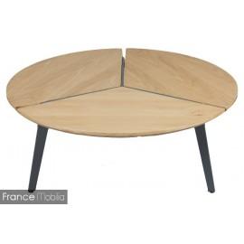 Table basse plateau rond chêne