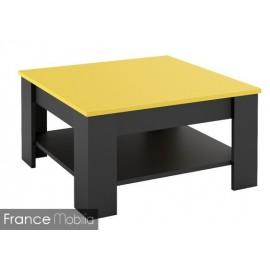 Table basse carrée bicolore jaune