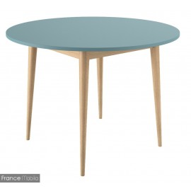 Table ronde pieds chêne bicolore bleu canard