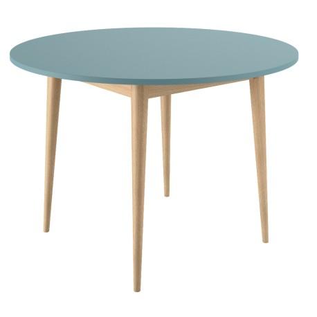 Table ronde pieds chêne bicolor