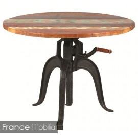 Table Ronde Hauteur Reglable Diametre 90 Bois Exotique Prix