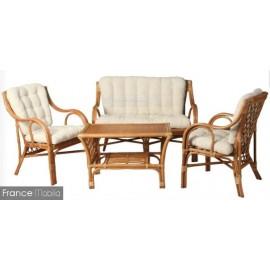 salon-en-rotin-4-pieces-table canapé et 2 fauteuils