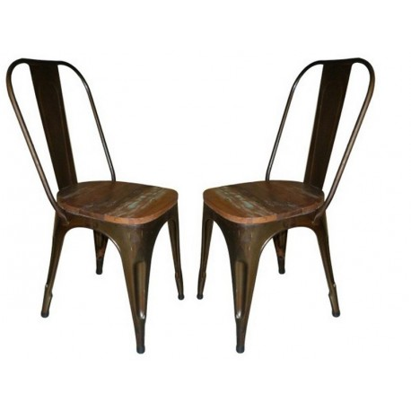Chaises-metal-assise-bois style industiel lot de 2