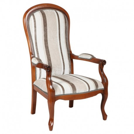 Fauteuil voltaire a rayures