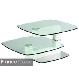 Table basse en verre articulé et acier brossé