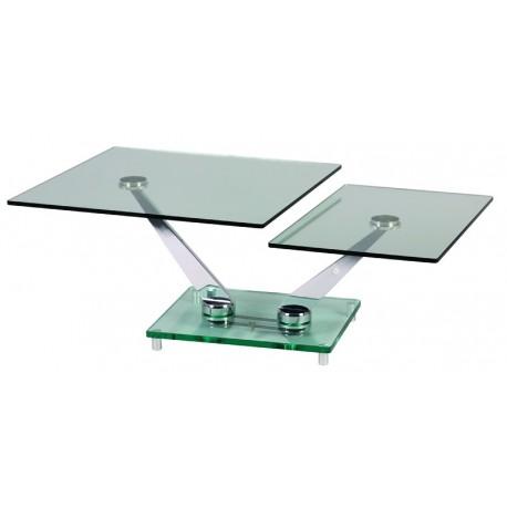 Table de salon 2 plateaux verre trempé articulés