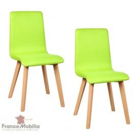Chaise de salle a manger en tissu microfibre vert