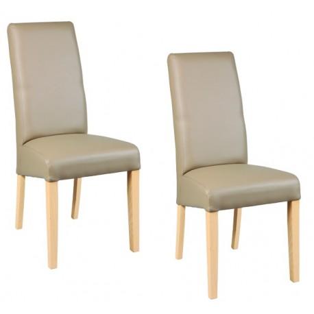 Chaise simili cuir - taupe